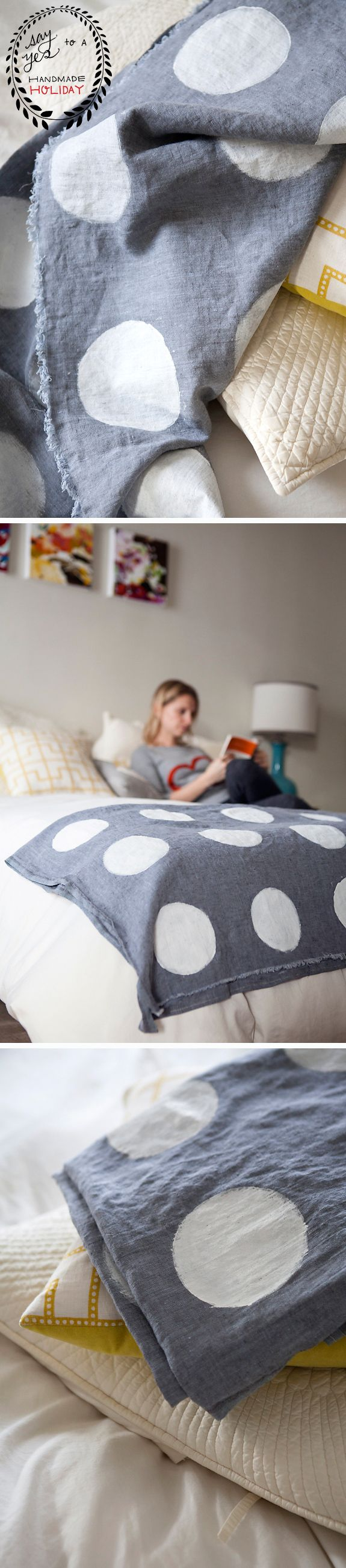 DIY Hand Stamped Polka Dot Coverlet