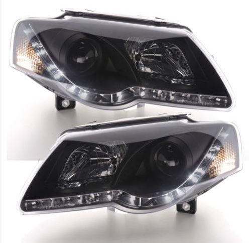 VW Passat 3C 2005-2010 Black DRL Devil Eye Headlights Comes Complete With Headlight Bulbs. Requires Wiring Into Side-Light Wiring In Order To Function. These are brand new, boxed and have full EU Compliant 'E' markings. UK Right Hand Drive Only. Will Pass an MOT.