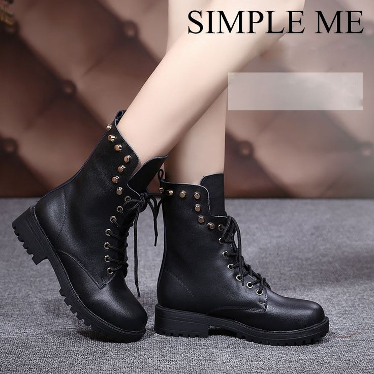 (36.78$)  Watch here - http://aiaoj.worlditems.win/all/product.php?id=32747417561 - 2016 Extra Big Size Rivets Martin Boots for Women Military Boots with Fur Tactical Boots Good Quality Botas Mujer Size 41.42.43