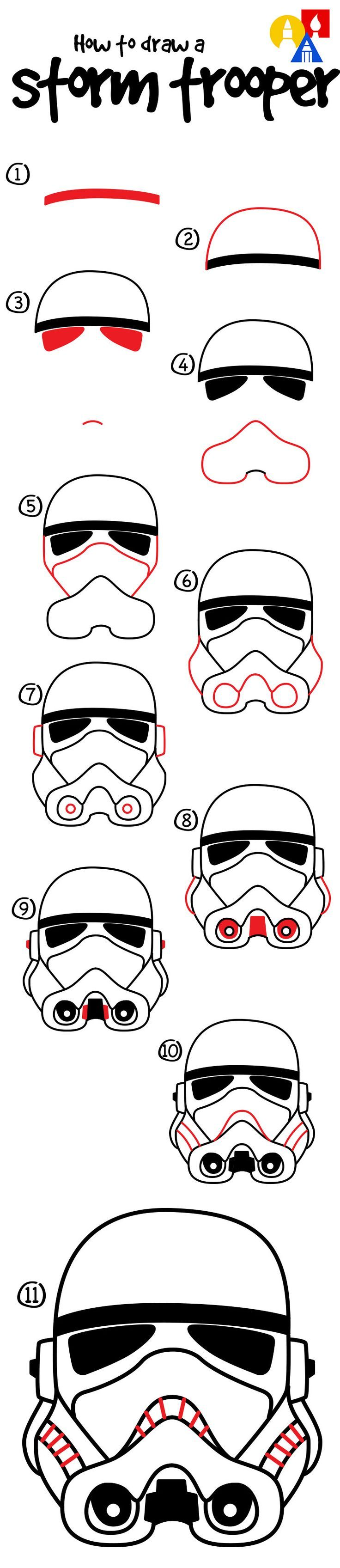 Learn how to draw a stormtrooper helmet!