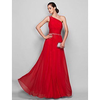 vaina / columna de un hombro vestido de noche de gasa palabra de longitud / prom – USD $ 79.29