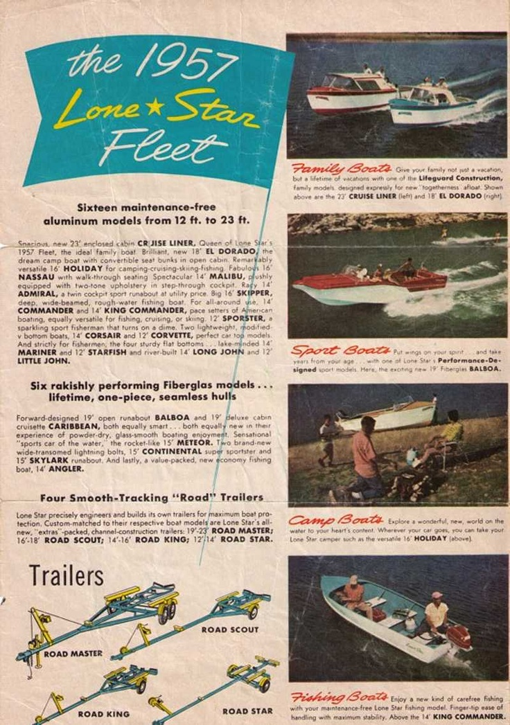 1950s Boats With Fins Lone Star Boats And Trailers 1957