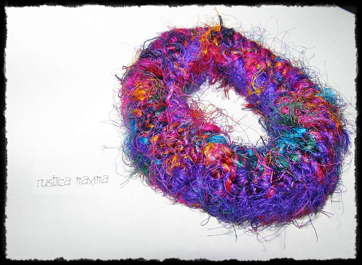 one of a kind sari silk knitted bracelet http://www.facebook.com/rusticamaxima
