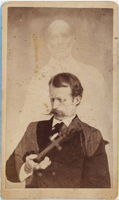 ca. 1860's, [carte de visite spirit portrait with Harry Gordon, first American medium credited with levitation], William Mumler  via Photo_History, Flickr