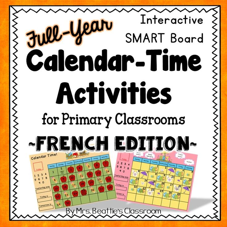 Incredible Complete Year-Long Interactive Calendar Math SMART Board + EXTRAS in FRENCH! This HUGE Calendar Math resource from Mrs. Beattie's Classroom is also available in English. (Kindergarten, Upper level, and Australian Editions also available!)