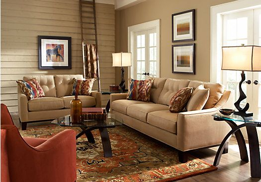 Shop for a cindy crawford home montclair peat 7 pc living room at rooms to go colors good for Rooms to go cindy crawford living room