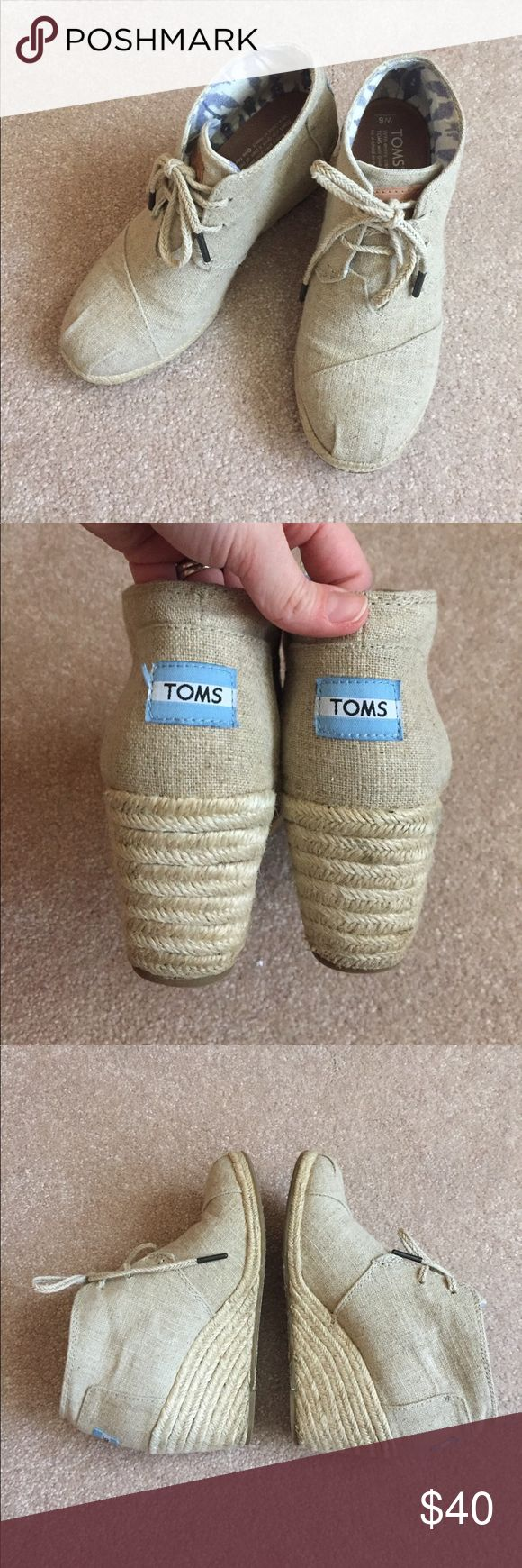 Original TOMS wedge booties EUC. Worn many times but still basically like new. These are the original booties from several years ago TOMS Shoes Wedges