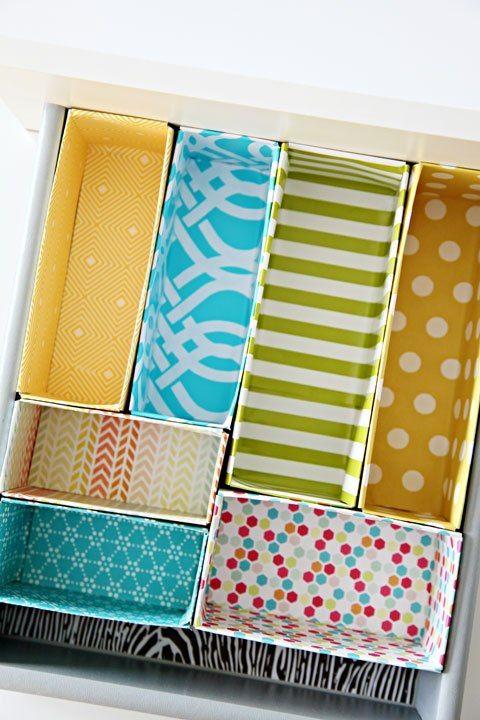 Organização da gaveta a partir de caixas dos cereais: http://iheartorganizing.blogspot.com.br/2013/01/diy-cereal-box-drawer-dividers.html