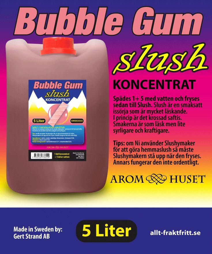 Slush Koncentrat Bubble gum Aromhuset Slush Koncentrat Bubble gum för att göra egen slush.  Avsett för alla muggar och slushmaskiner oavsett fabrikat.  Rekommenderad dosering är 1+5. 1 del koncentrat + 5 delar vatten, eller efter egen smak. Aromhuset Slush Koncentrat med smak som det ska smaka.