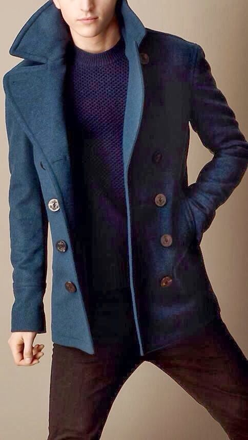 Blue pea coat. Love the anchor details on the buttons. #menswear #fashion #style