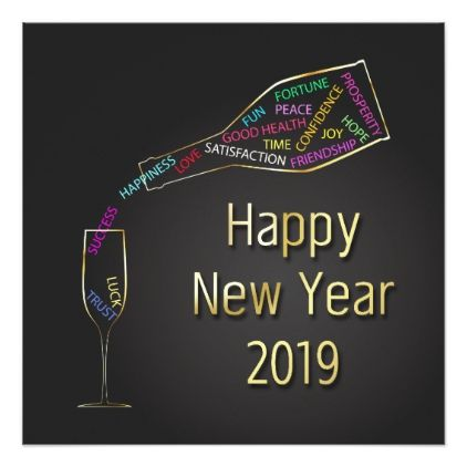 new year 2019 champagne bottle glass invitation new years day happy new year holiday customize personalize celebrate party