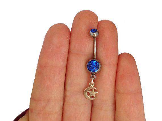 925 argent nombril piercing avec lune & étoiles pendentifs, bijoux de corps doux, cadeau lune étoile anneau de nombril, piercing de sterling