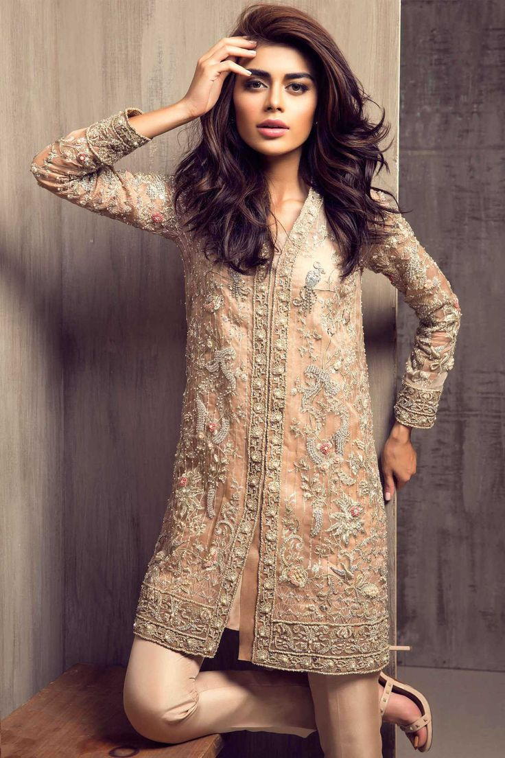 46ed7688a Pakistani Party Wear Embroidered Shirts 2018-2019 Latest Designs ...