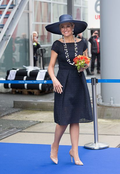 HM Queen Maxima of The Netherlands after baptizing the cruise ship MS Koningsdam in Rotterdam - May 2016