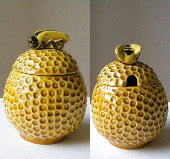 vintage honey pot with bee, charming yellow