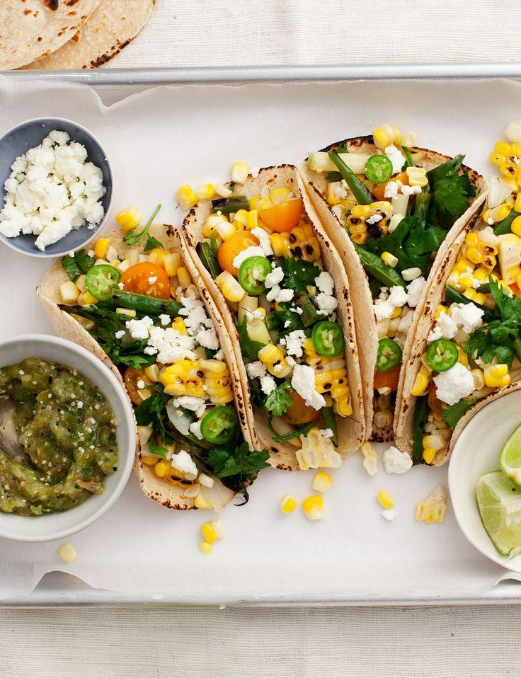 Corn & Green Bean Tomatillo Tacos Recipe - Love and Lemons