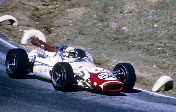 John Surtees, Lola T92 Ford. 'Rex Mays 300' USAC race, Riverside 1967 (unattributed)...