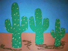 Cactus / peinture / sable / collage riz. Amériques indiens cowboy . Fresque collective
