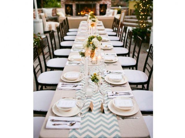 Mariage chemin table rayure