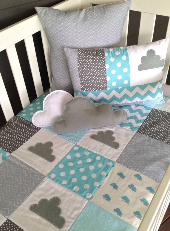 Little Cloud Baby Crib Quilt and two cushion by AlphabetMonkey, $330.00