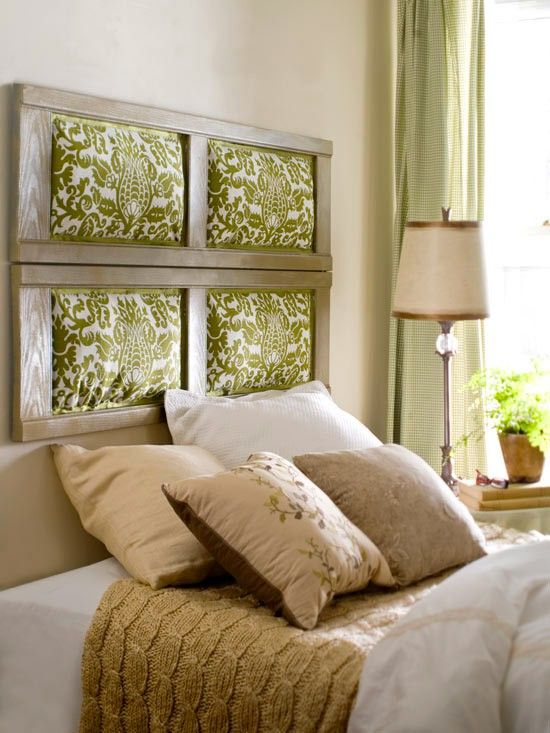 Shutter frames repurposed as headboards.