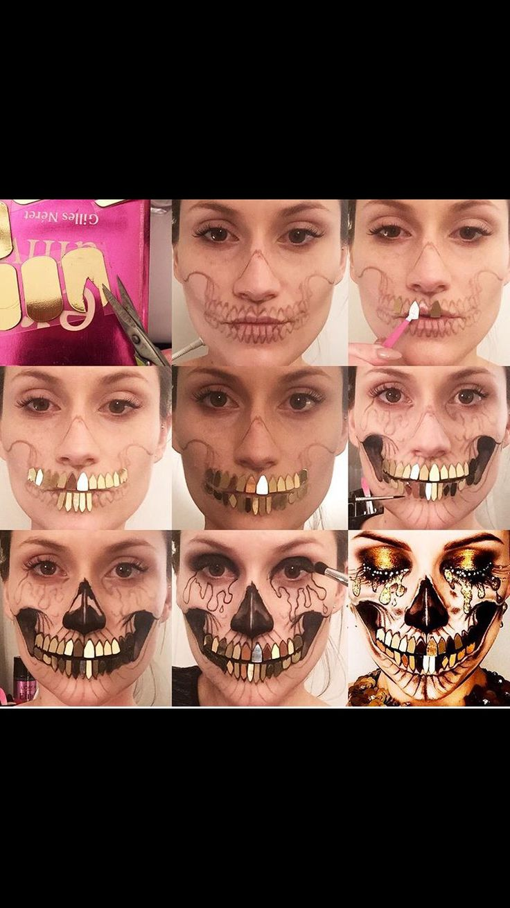 Golden skull makeup pictorial