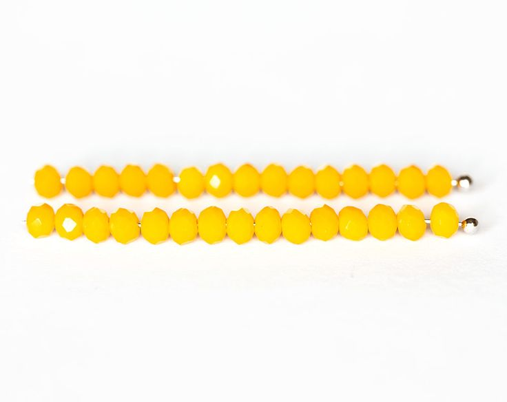 2015_Yellow glass beads 4x3 mm, Faceted roundels crystals, Opaque glass beads, Rondelle bright beads, Crystal beads for jewelry_145 pcs. by PurrrMurrr on Etsy