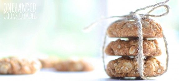 ANZAC COOKIES: Our recipe has around half the sugar and butter than typical recipes, but you wouldn't know it – they're yum! The perfect mix of chewy and crunchy. A nice little treat for the weekend. #onehandedcooks