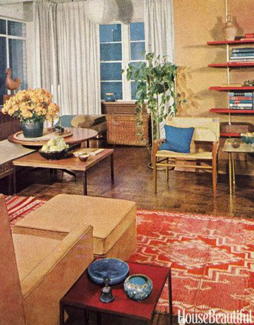 pretty home designs furniture. from House Beautiful  1961 December Living Room This room emphasizes horizontal lines which makes it seem larger than 16 best Magazine Covers Archival Images images on Pinterest