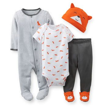 4-Piece Take-Me-Home Set from Carter's. Everything you need for your infant boy's first take me home outfit is conveniently bundled in this simple set. Sleep & Play with matching bib, footed pants and essential bodysuit will dress your newborn baby to meet the world. What a great gift for any new baby boy!