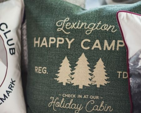 Happy Camper Sham Green. Happy Holidays! Lexington Company Holiday Home Collection 2016 has arrived. Get home interior inspiration for the Holidays and Christmas on www.lexingtoncompany.com.