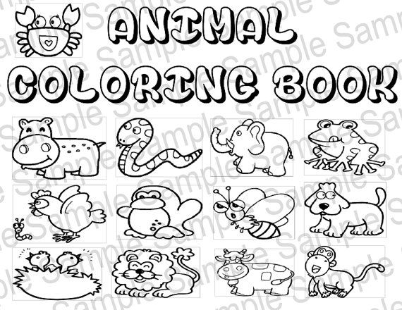 Animal Coloring Book PDF Printable Animals by CustomizableArt ...