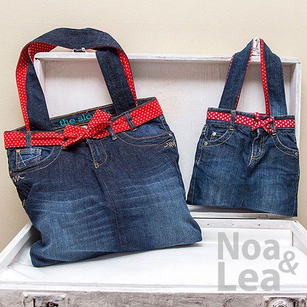 Upcycled trousers handbag by Noa & Lea for mother and daughter Torba Upcykling, Torba ze spodni, Torba z jeansów  http://noa-lea.pl/index.php/pl/sklep/sklep-torby/60-torby-pin-up-dla-mamy-i-corki