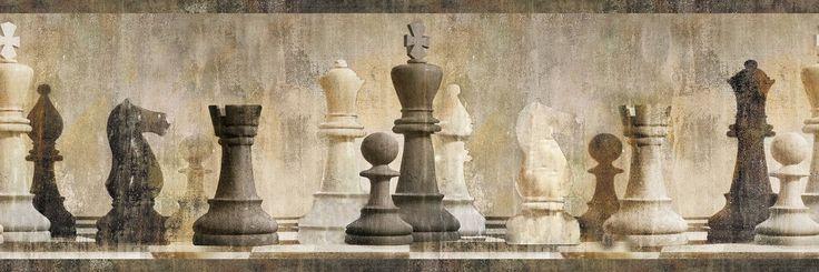 Chesapeake MAN01841B Albert Chess Wallpaper Border, Beige - - Amazon.com