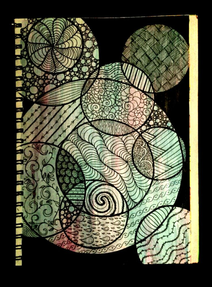 Doodle fun! Black ink pen over glitter water colour paint.
