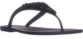 Nine West Vlora Flat Thong Jelly Sandals, Black.