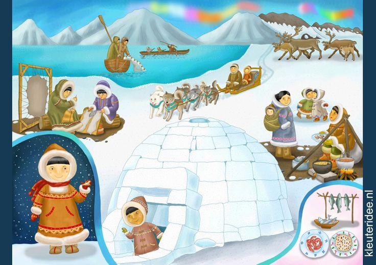 Praatplaat Noordpool voor kleuters, kleuteridee.nl, free printable (groot formaat). / Arctic children's illustrations preschool / Láminas Didácticas