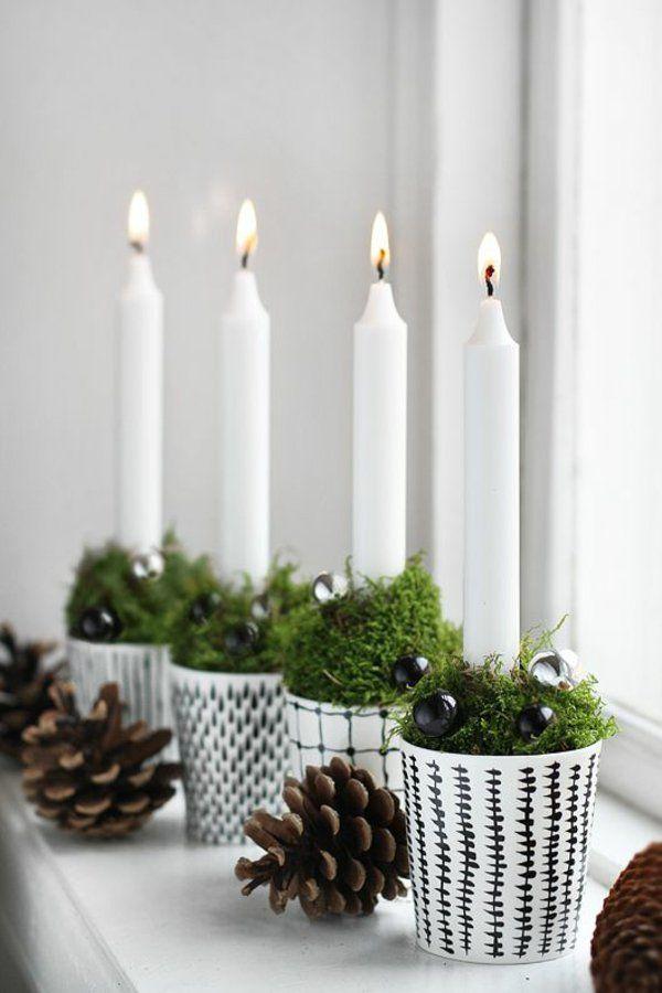 weihnachten tannenzapfen deko mit kerzen