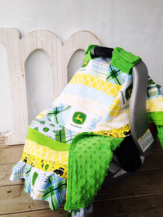 This convertible quilt grows with your baby! Great for attaching sensory or teething toys to the straps after your baby outgrows the car seat! John Deere Toddler Sensory Taggie Blanket & Baby Car Seat Cover, Farm Tractor Nursery, Baby Boy, Blue Green Aqua Yellow Teal Plaid Minky Fabrics, Crib Bedding, Car Seat Canopy, Baby Shower Gift | by Missy Prissy Shop, $34.00 + FREE SHIPPING!