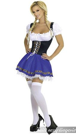 With classic details and flirty flair, this beer-serving wench costume is lively and alluring. The dress top is created to resemble a peasant blouse, with puckered, ruffled cap sleeves and a low bustline. The midline is made of black, stretchy material, which is embroidered along the lace-up, center panel. The skirt is an exciting, bold blue, embroidered with classic, German style. It stops short, to reveal an ornate and delicate slip of white lace that peeks out below the hem.The stocking…