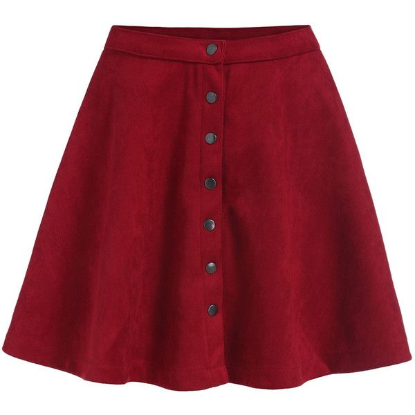 Single-breasted Flare Red Skirt ($14) ❤ liked on Polyvore featuring skirts, bottoms, saias, red, flared hem skirt, flare skirt, red knee length skirt, short skirts and short red skirt