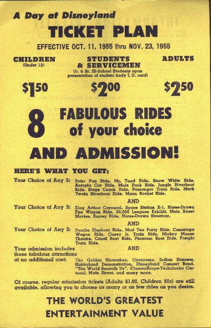 A gallery of old Disneyland tickets and purchasing plans