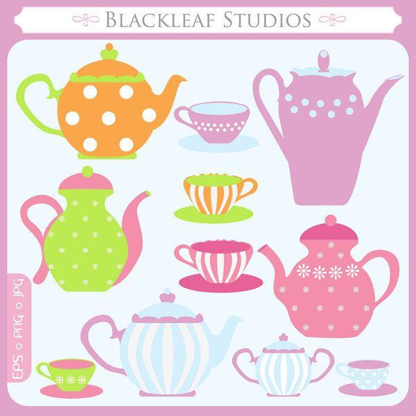 Little Tea Pot - tea cups, cute tea pots, mad hatters tea party, logo - Personal and Commercial Use Clip Instant Download. $5.00, via Etsy.