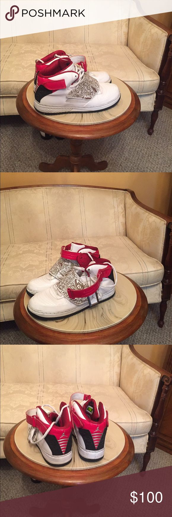 White patent leather Air Force one size 8 1/2 Nike Air Force one . White patent leather sneakers size 8 1/2 in good condition. White blame and red Nike Shoes Sneakers