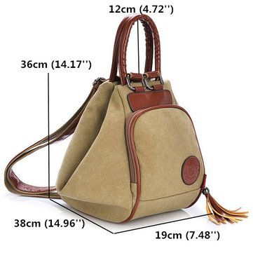 Women Canvas Tassel Backpack Casual Diagonal Handbags Multi Functional Shoulder - US$29.99