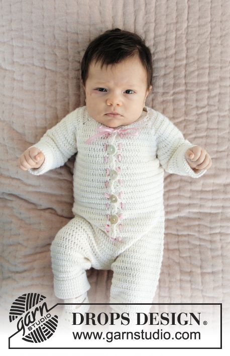 Onesie for Christening or special occasions, worked top down with raglan and textured rows crocheted in DROPS BabyAlpaca Silk. Sizes 0 - 2 years. Free pattern by DROPS Design.