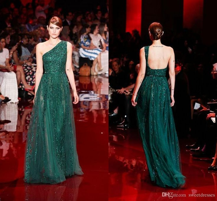 Ladies Occasion Dresses 2015 Elie Saab Green Evening Dresses One Shoulder Tulle Lace Sequined See Through Prom Dresses Floor Length Evening Gowns Gd 703 Long Black Evening Dresses Uk From Sweetdresses, $234.63| Dhgate.Com