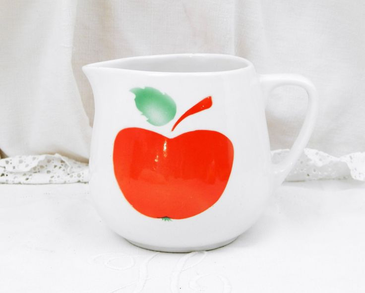 Vintage Mid Century Ceramic China Pitcher White and Bright Red Apple Pattern Made in Hungry, MidCentury, 1960s, 1970s, Retro, Home, Interior by VintageDecorFrancais on Etsy