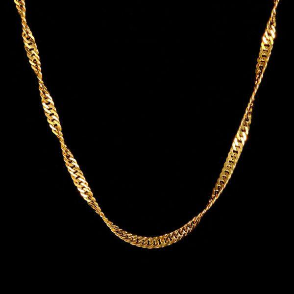 18 Karat Gelbgold - Kette aus 750 Gold Vergoldet- 45cm Lang - Goldkette Damen