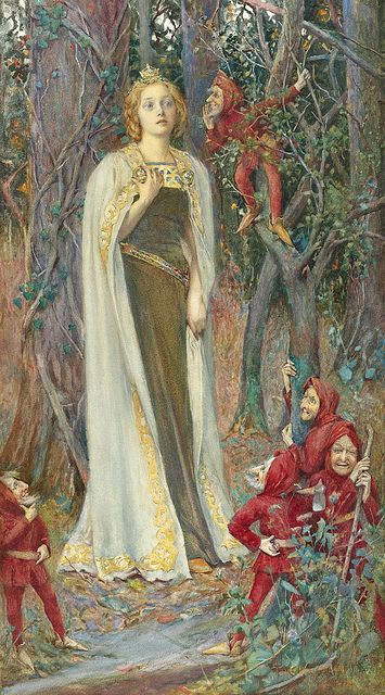 """Henry Meynell Rheam  (British, 1859-1920), """"Once upon a Time""""  Rheam painted mostly in watercolour. He specialised in romantic paintings in the Pre-Raphaelite style. He can be compared to Eleanor Fortescue Brickdale and John Byam Shaw."""
